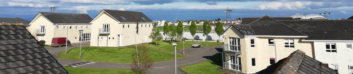 Ariel view of Thomond Village student accommodation Limerick